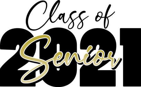Class of 2021 Senior Script in Gold