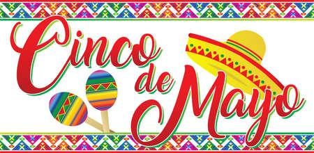 Cinco de Mayo Banner with sombrero and maracas