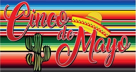 Cinco de Mayo Banner with Mexican Blanket Фото со стока - 166731791