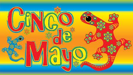 Colorful Cinco de Mayo Banner with Lizard