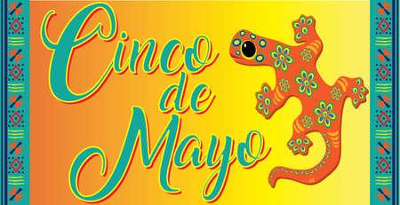 Cinco de Mayo Colorful Background with Lizard Иллюстрация