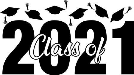 Class of 2021 with Graduation Caps flying high Иллюстрация