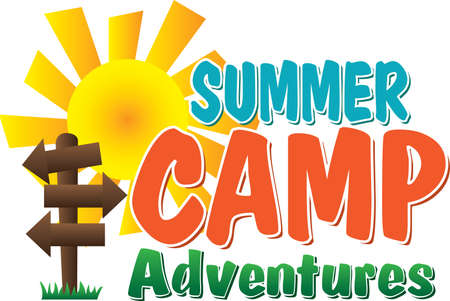 Summer Camp Adventures Logo Blank signs to fill in with your camp adventures