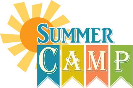 Summer Camp Logo with Sun Banner Иллюстрация