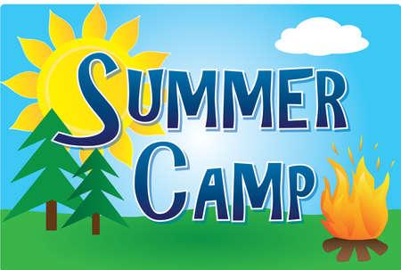 Summer Camp Logo with Sun
