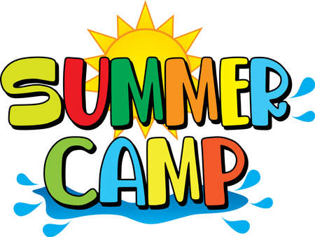 Summer Camp Logo with Sun and Water