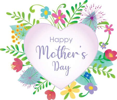 Happy Mother's Day Floral Design with simple heart in center Иллюстрация