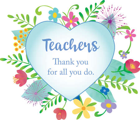 Thank you for all you do Teachers Floral Design Floral Design with simple heart in center Иллюстрация