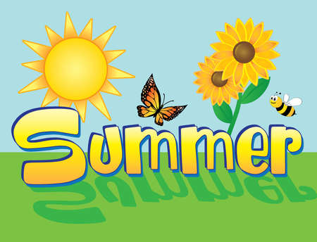Summer Scene Background with sun, flowers, bee, and butterfly
