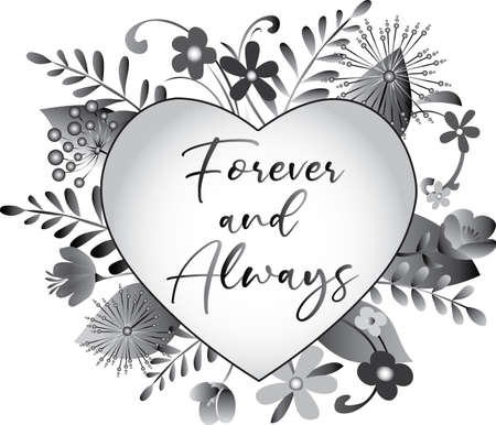 Forever and Always floral heart design Иллюстрация