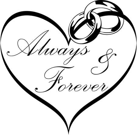 Always and Forever Heart Graphic with rings