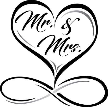 Mr. and Mrs. Wedding Logo with Infinity Symbol