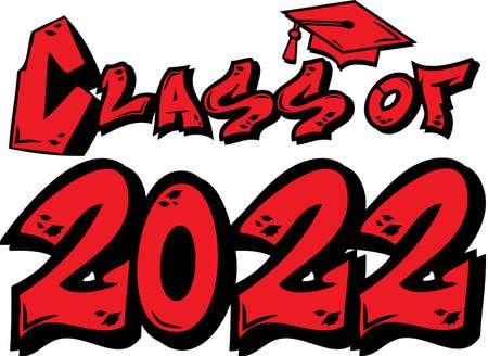 Red Class of 2022 Graffiti Logo Иллюстрация