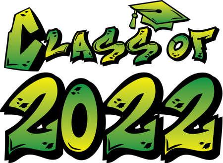 Green Class of 2022 Graffiti Logo