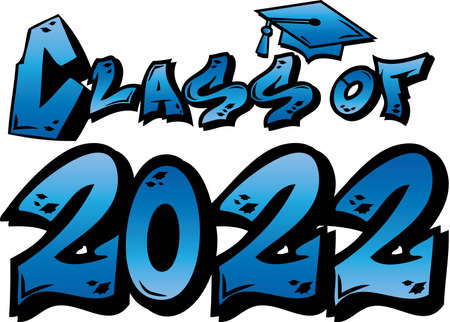 Blue Class of 2022 Graffiti Logo