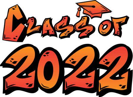 Orange Class of 2022 Graffiti Logo Иллюстрация