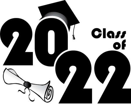 Class of 2022 with diploma and hat stacked
