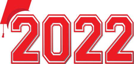 2022 Logo Red Graduation Graphic