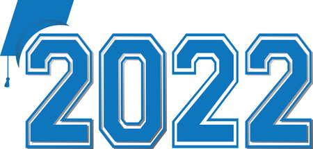 Blue 2022 Graduation Logo Varsity Text