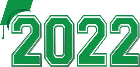 Class of 2022 Green Logo with Graduation Cap