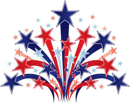 Patriotic Shooting Stars Red White and Blue