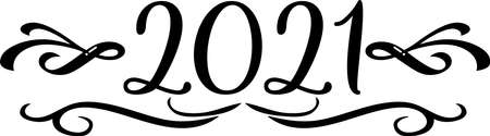 2021 scroll Black and White Classic Elegant Graphic Иллюстрация