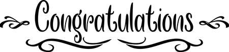 Congratulations scroll Black and White Classic Elegant Graphic