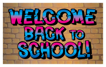 Welcome back to school graffiti on wall graphic art design Stock Photo