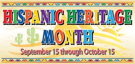 Hispanic Heritage Month Banner with Desert Background