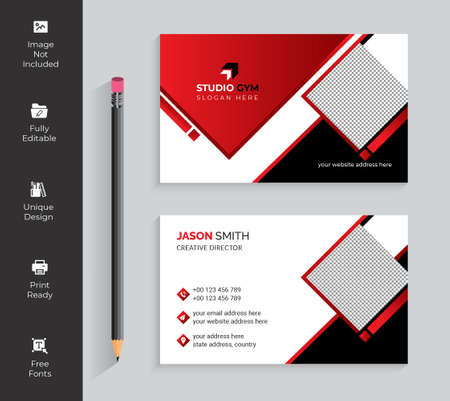 Modern presentation card Vector business card template. Visiting card for business and personal use. Vector illustration design.