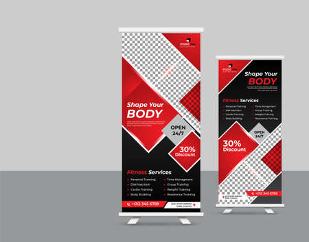 Abstract Shapes Modern Exhibition Advertising Trend Business Roll Up Banner Stand template creative concept.