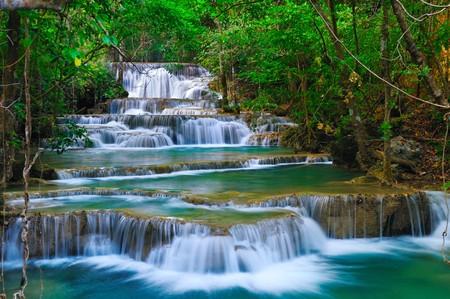 waterfall in forest: Deep forest Waterfall in Kanchanaburi, Thailand