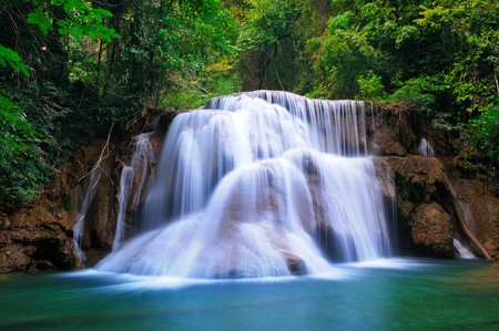 rock creek: Deep forest Waterfall in Kanchanaburi, Thailand