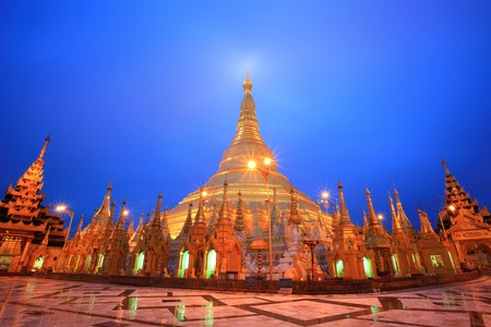 Shwedagon pagoda at twilight, Yangon, Myanmar photo