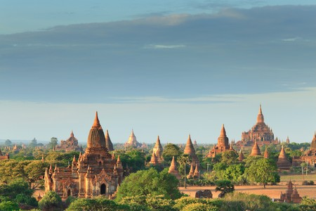 The Temples of bagan at sunrise, Bagan, Myanmar photo