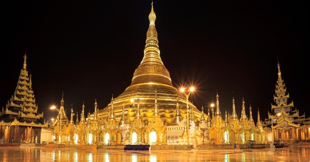 Panorama of the Shwedagon Pagoda,Yangon, Myanmar Stock Photo