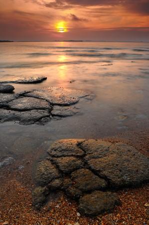 petrified fossil: Seascape of Mollusk Fossil Site at sunrise,Krabi,Thailand