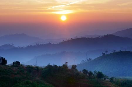 kanchanaburi: Landscape of sunrise over mountains in Kanchanaburi,Thailand
