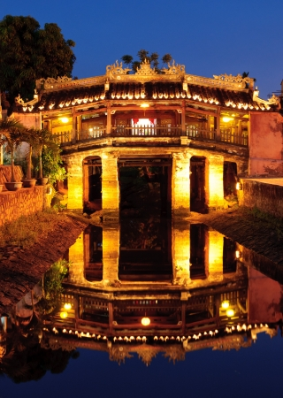 Japanese Bridge in Hoi An at night, Vietnam photo