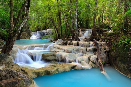 erawan: Erawan Waterfall in Kanchanaburi, Thailand  Stock Photo