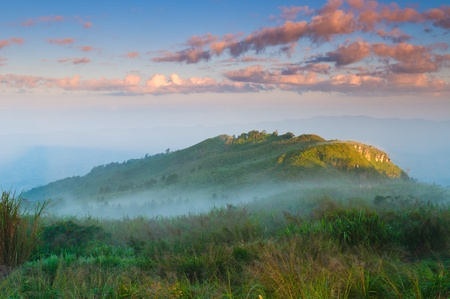 Landscape of misty mountain at sunrise with grass field foreground  photo