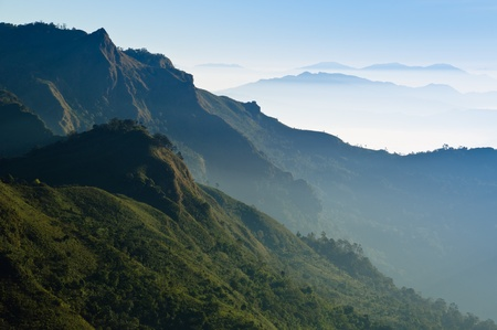 Morning Mist at Tropical Mountain Range, Chiangrai,Thailand