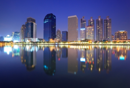 Bangkok city at night with reflection of skyline, Bangkok,Thailand