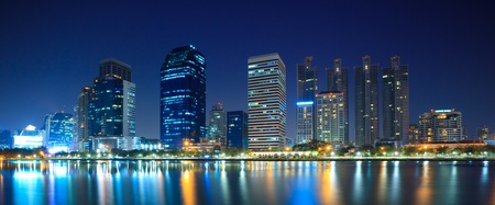 Panorama of Bangkok downtown city at night Bangkok,Thailand Stock Photo