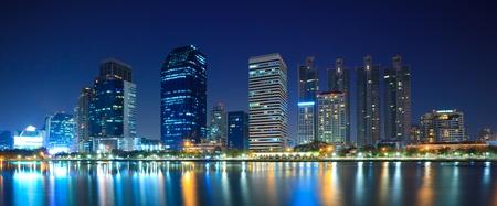 urbanscape: Panorama of Bangkok downtown city at night Bangkok,Thailand Stock Photo