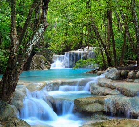 waterfall in forest: Erawan Waterfall, Kanchanaburi, Thailand