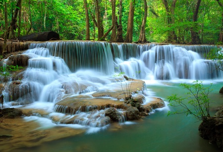 Deep forest Waterfall, Kanchanaburi, Thailand 스톡 콘텐츠