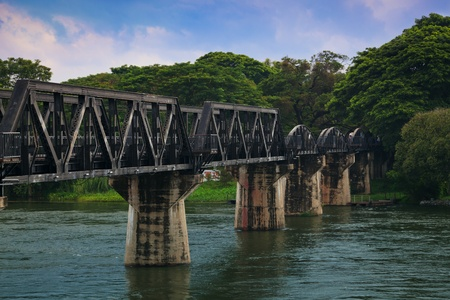 rail cross: The Bridge on the River Kwai,Kanchanaburi, Thailand Stock Photo