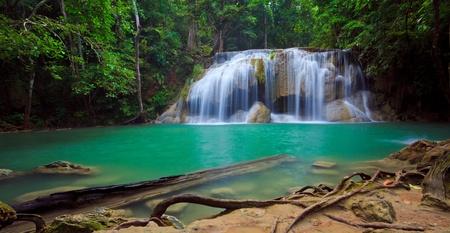 eravan: Panorama of Erawan Waterfall, Kanchanaburi, Thailand