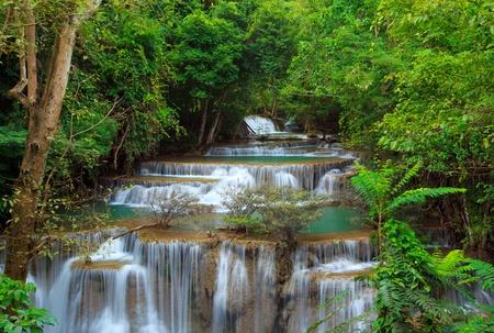 eravan: Deep forest Waterfall, Kanchanaburi, Thailand Stock Photo